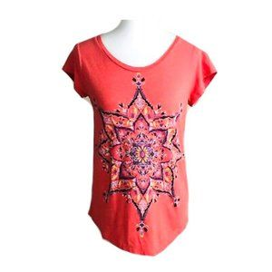 Lucky Brand Coral Pink Colorful Medallion T Shirt